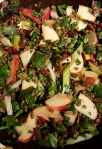 Lentil Salad with Apples and Red Chard